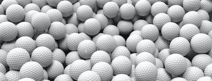 White golf balls background, banner, close up view, 3d illustration
