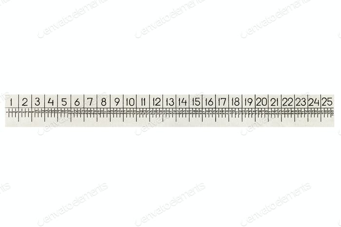 Metal ruler for zooming, isolated on white background