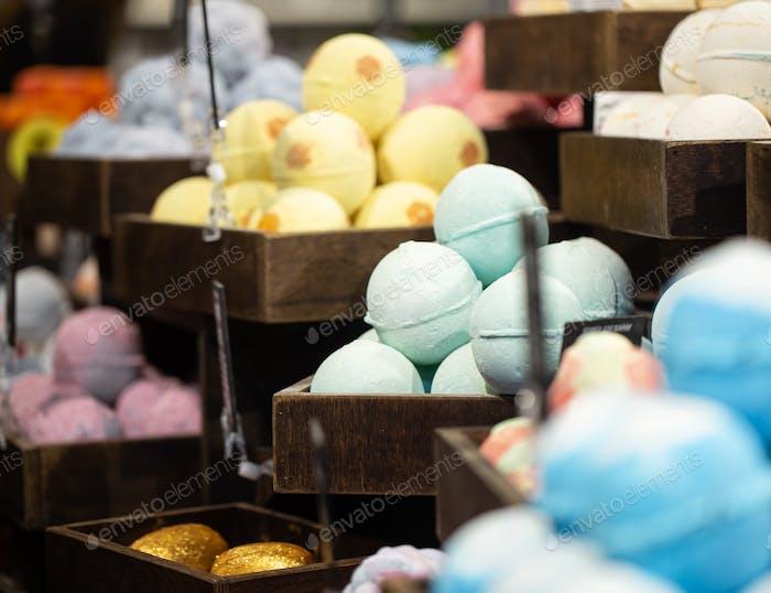 Handmade cosmetics salt bombs for the bath