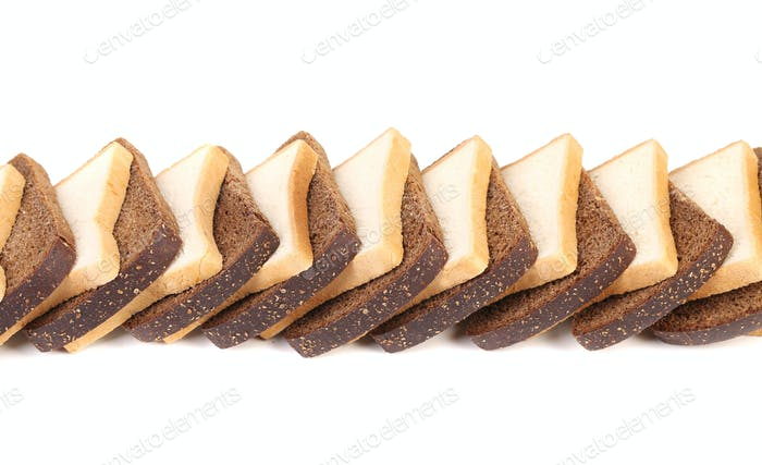Sliced white and brown loaf of bread.