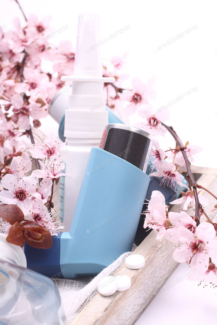 Asthma inhalers with blossoming tree branches on wooden tray over white