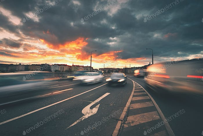 Traffic at the sunset