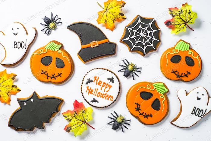 Halloween Lebkuchenkekse - Kürbis, Geister, Hexenhut, Spid