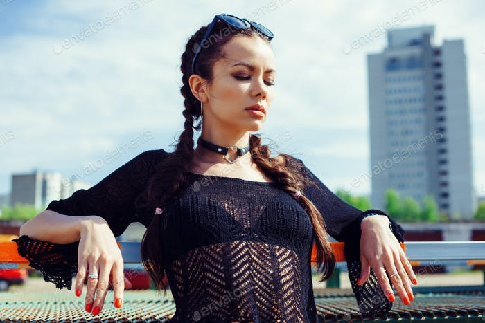 Summer lifestyle fashion portrait of young woman