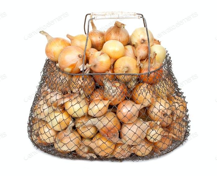Zwiebeln im Netzbeutel