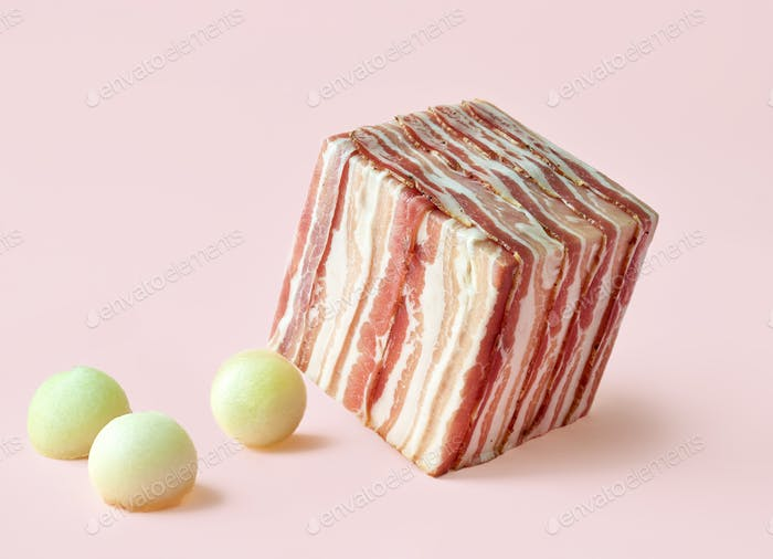 cube of prosciutto slices