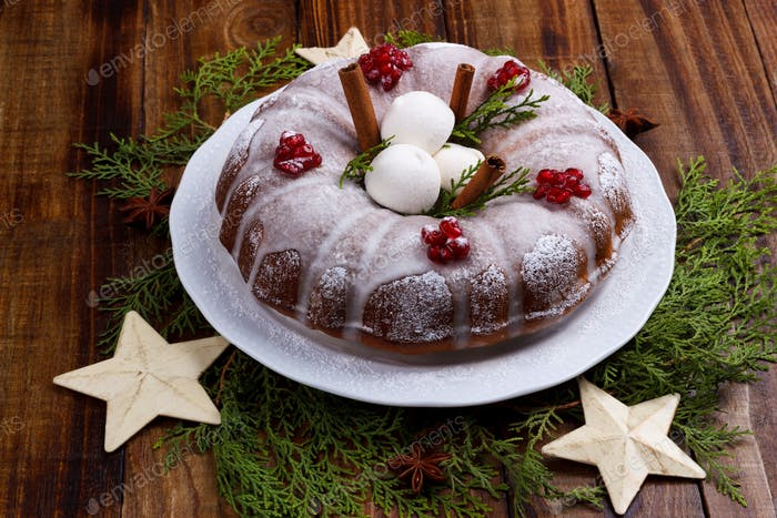 Traditional homemade christmas cake