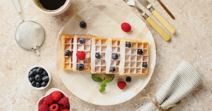 Waffles served on plate with berries