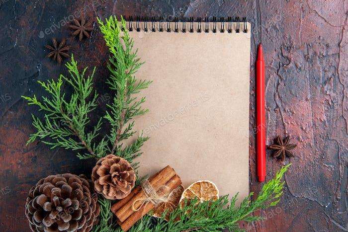 Draufsicht rot Stift ein Notizbuch Kiefernzweige Sternanis getrocknete Zitronenscheiben auf dunkelrotem Hintergrund