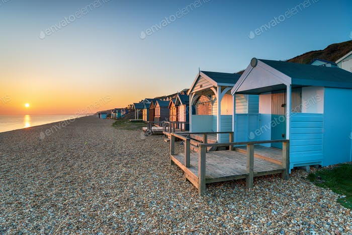 Sunset over Beach Huts