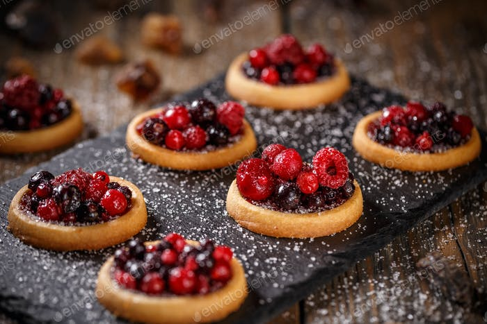 Delicious red berries mini tarts