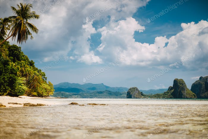 El Nido, Palawan, Philippines. Scenic tropical landscape of shallow lagoon, sandy beach with palm