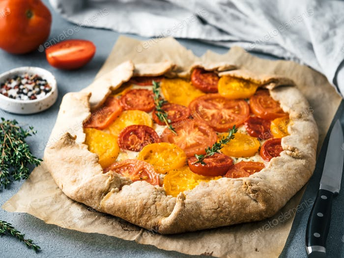 tomatoes and cheese tart or galette