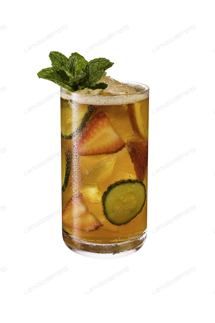 Refreshing Pimms Cup Cocktail on White