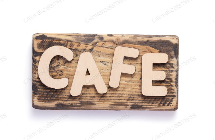 wooden coffee letters at signboard or nameplate