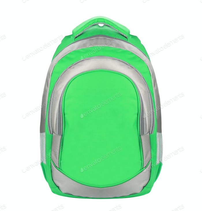 Green backpack standing isolated on white background