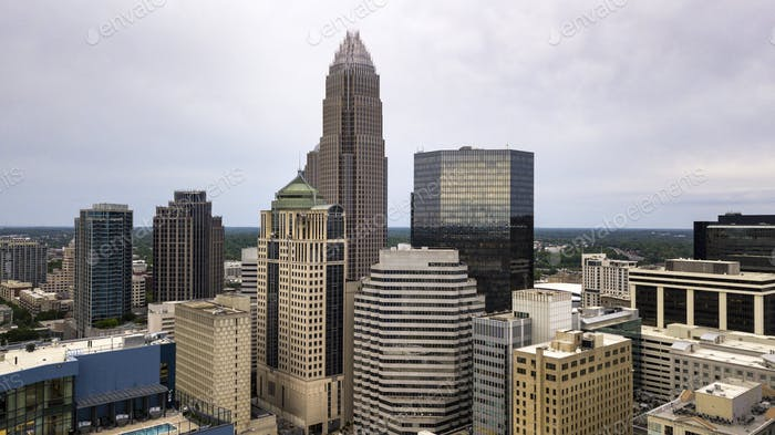 Aerial View in close between the buidlings of Charlotte North Carolina