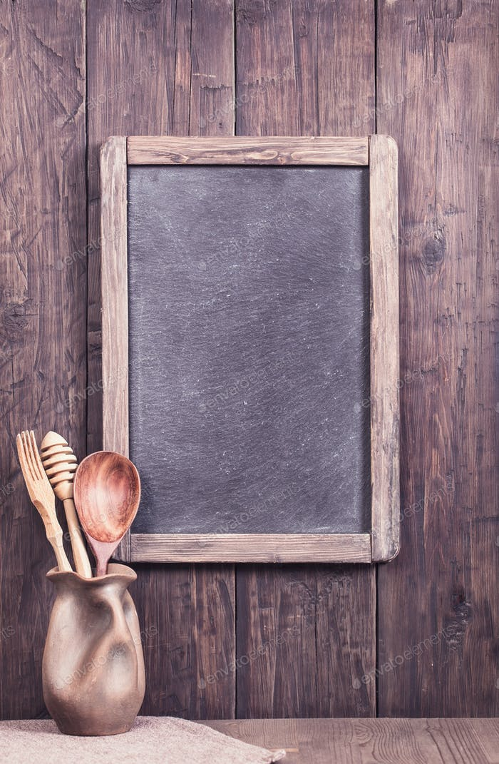 Rustic Slate Menu Chalkboard On Wall
