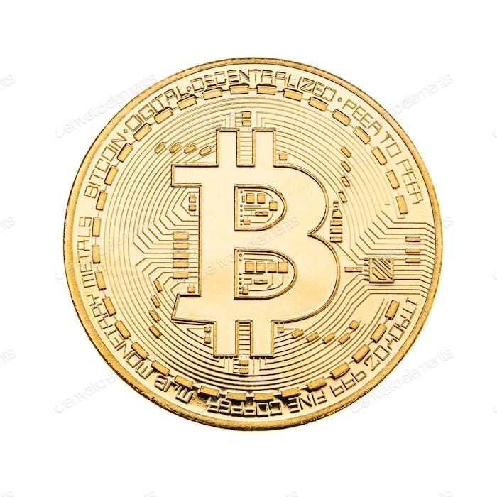 Golden Bitcoin over white