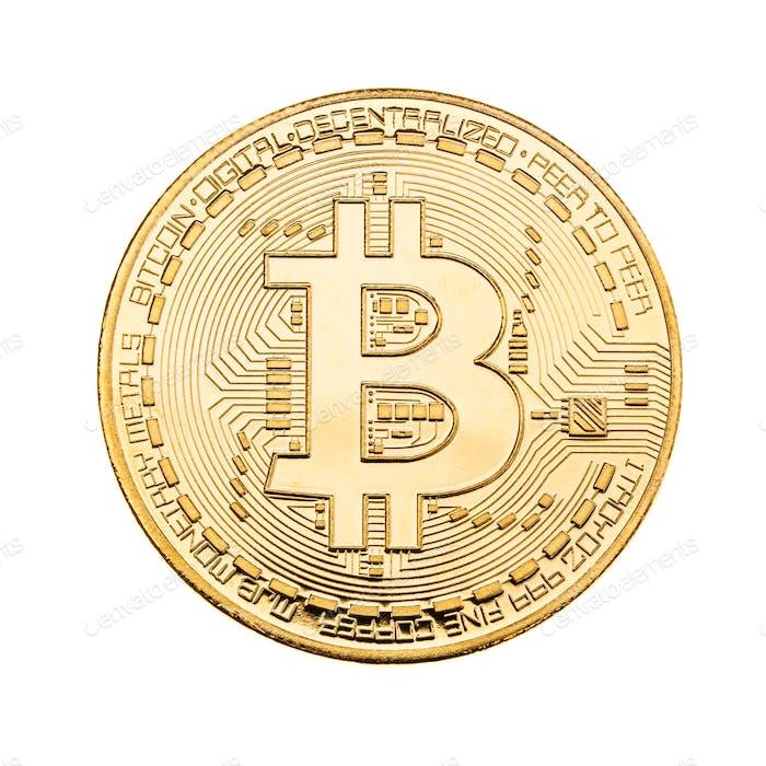Goldener Bitcoin über weiß