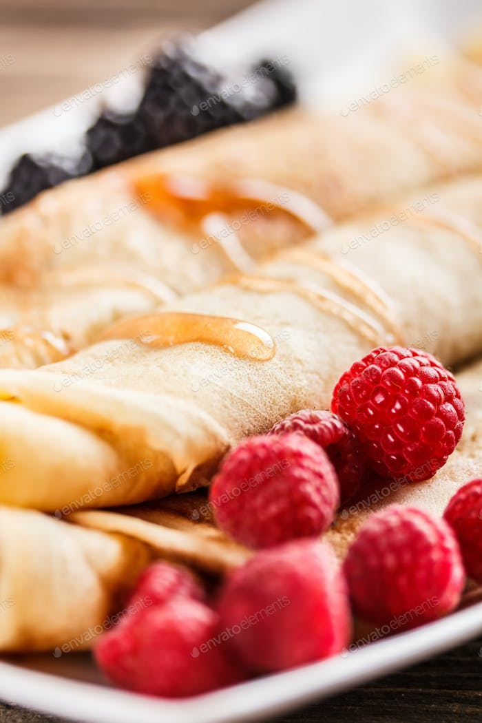 Close up of roll pancakes