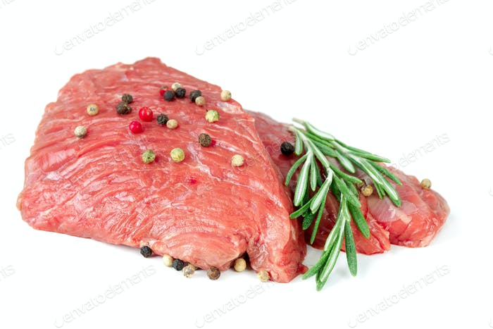 Two pieces of raw beef