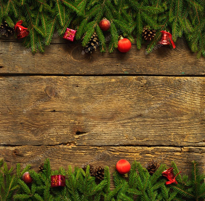 Christmas border with fir tree branches, cones and christmas dec