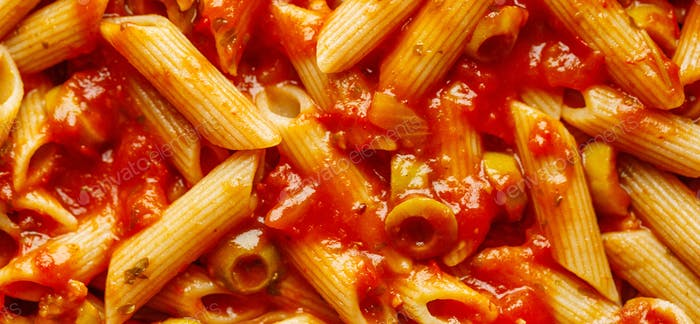 Classic penne pasta with tomato sauce