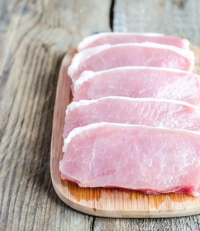 Raw meat steaks