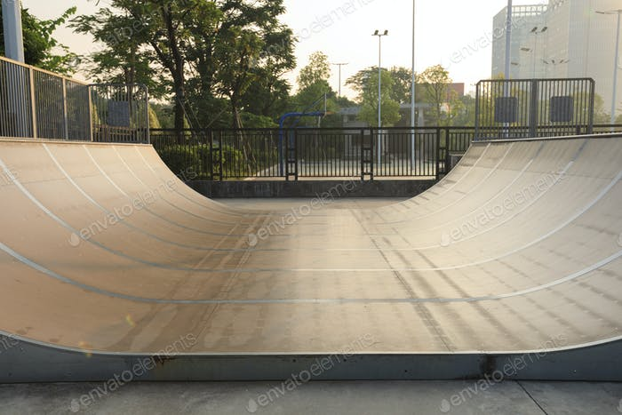 Half pipe in skatepark