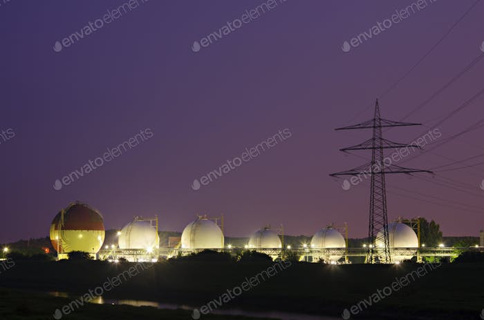 Liquid Gas Tanks At Night