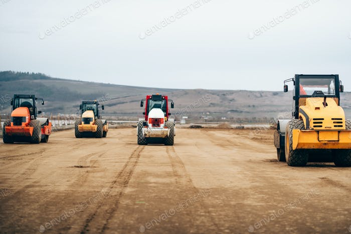 Vibratory Compactor during road and highway construction.