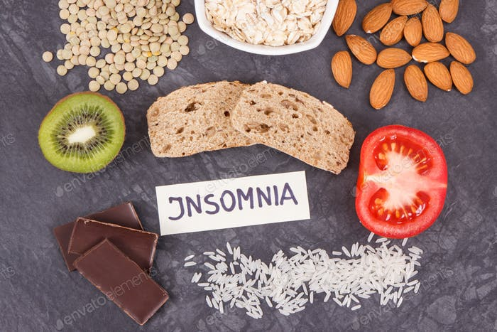 Inscription insomnia with food containing melatonin and tryptophan
