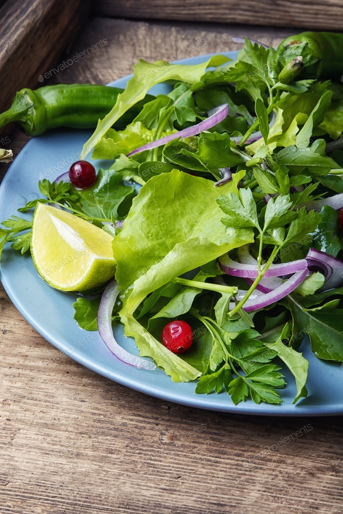 Spring vegetable salad with food herb and lime