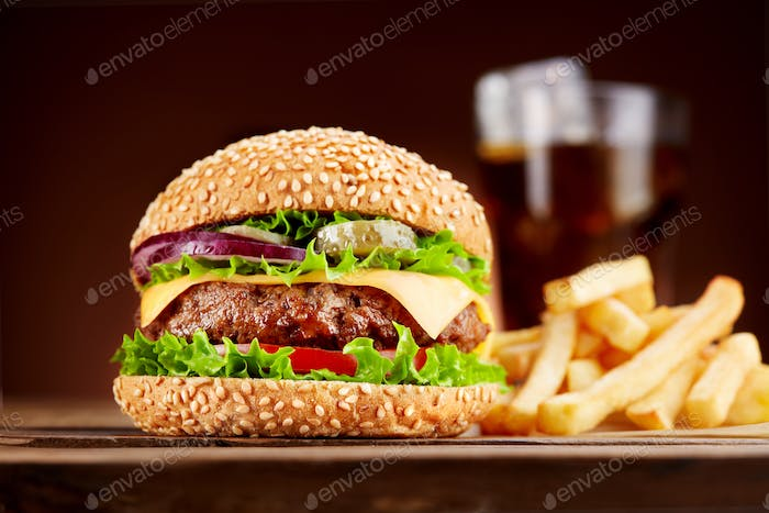 Burger with french fries and cola