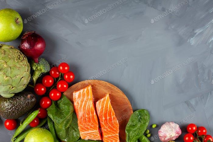 Vielzahl gesunder Bio-Lebensmittel, reich an Ballaststoffen, Proteinen und Antioxidantien