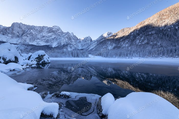 Winter at Fusine lake in Italy
