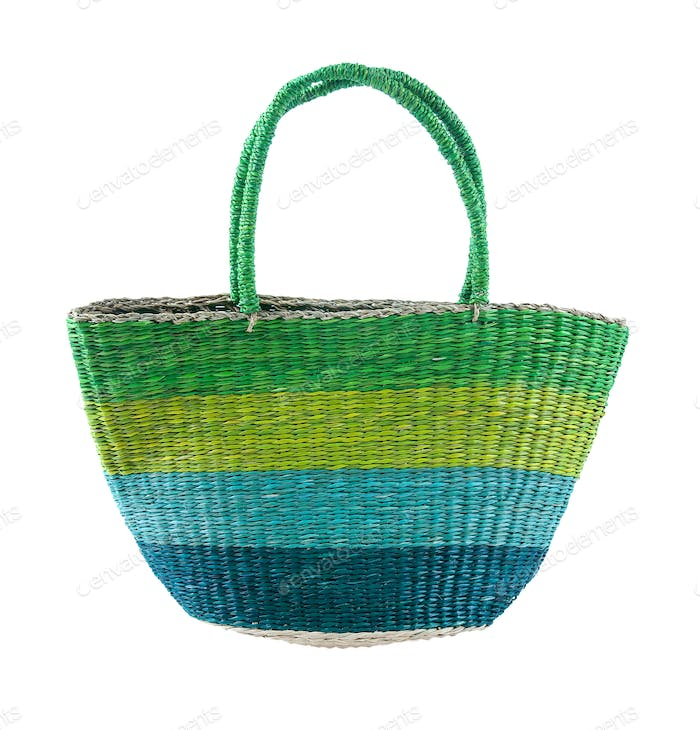 Striped green and blue basket tote