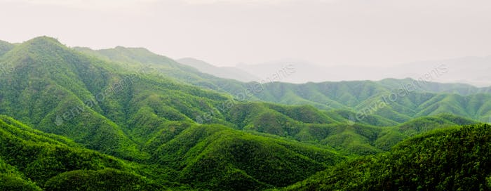 Landscape view of beautiful green hills and mountains, Myanmar
