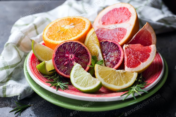Sliced citrus fruit on the plate.