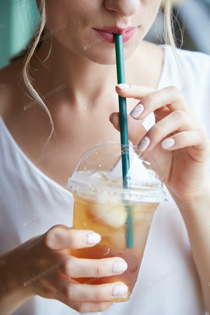 Drinking iced tea