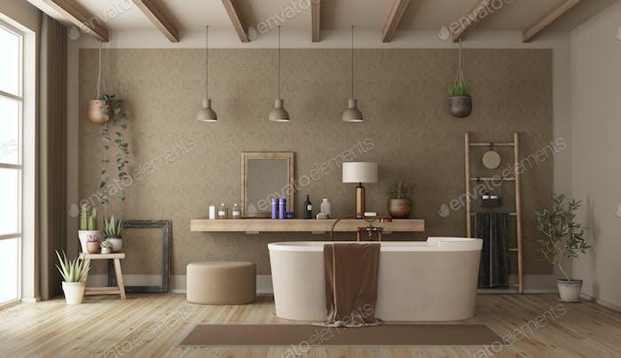Retro bathroom with modern bathtub