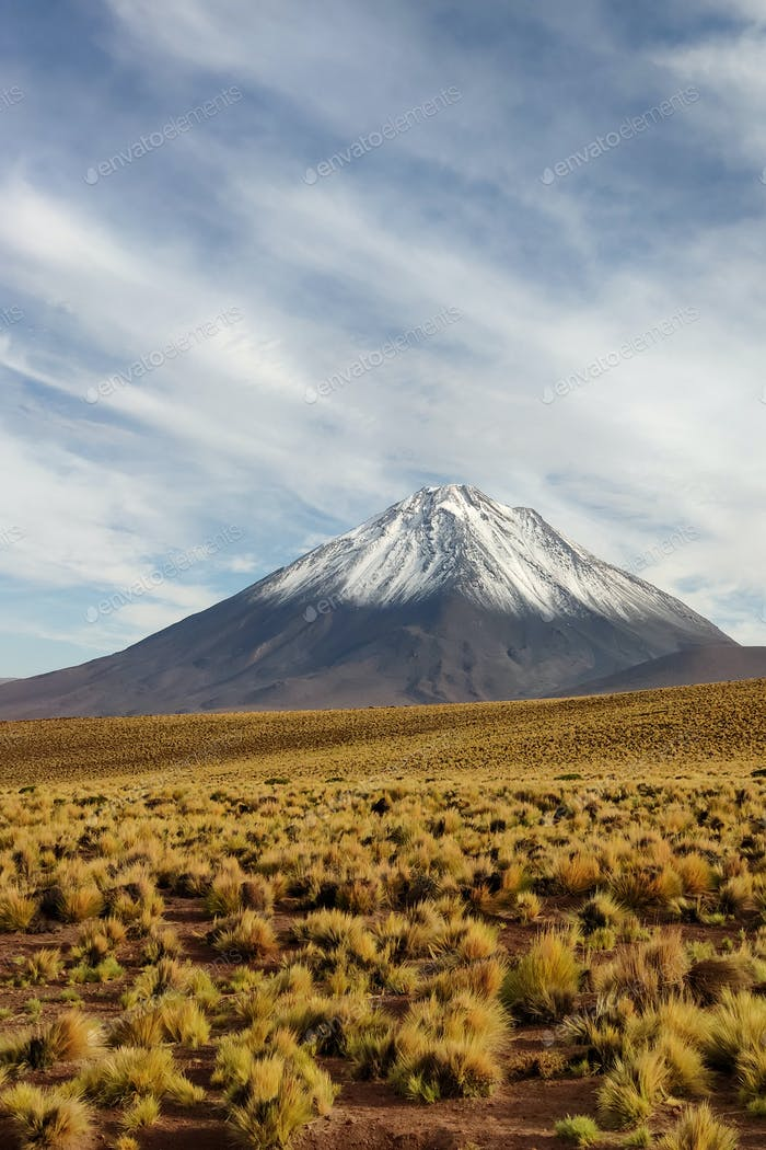 Majestic scenery of Licancabur volcano with top covered with snow, Chile