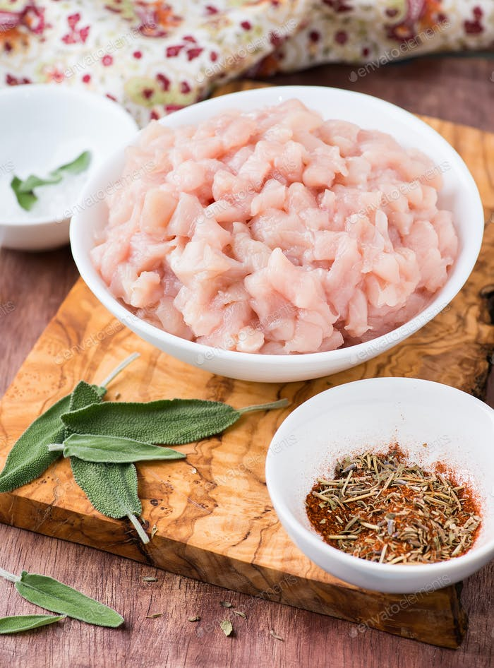Fresh raw chopped chicken meat in a bowl
