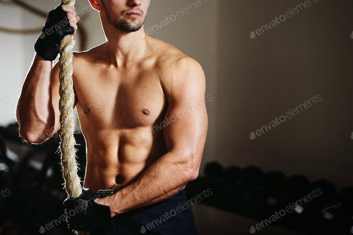 athletic man workout in gym
