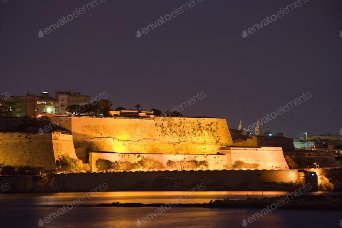 Illuminated Walls Of Valletta, Malta