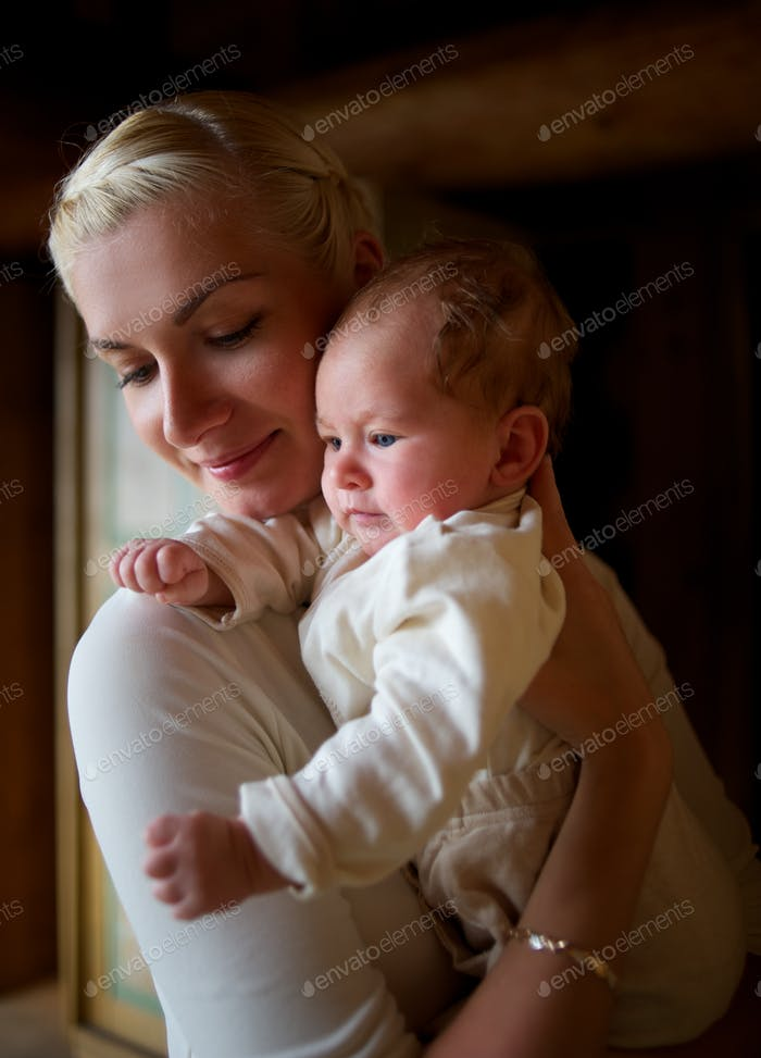 Young mother with her lovely baby