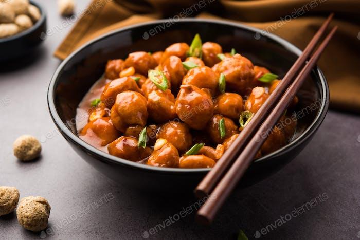 Glycine max Chunks or Soya Chunk Manchurian dry or with Gravy