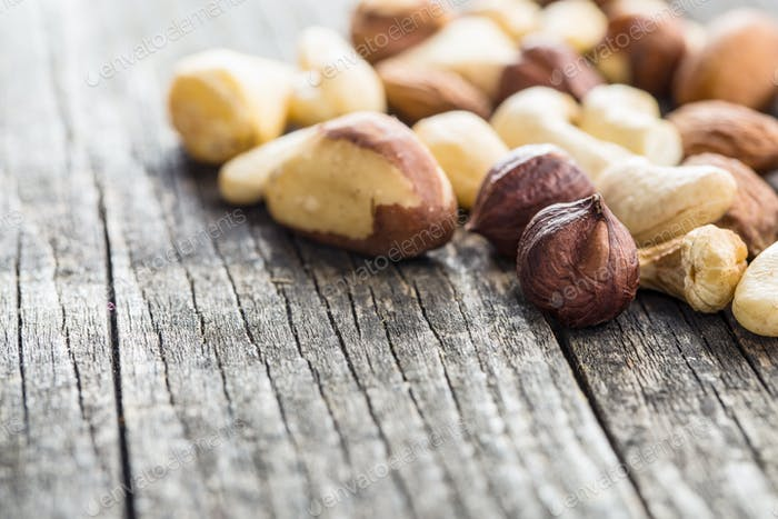 Different types of nuts.