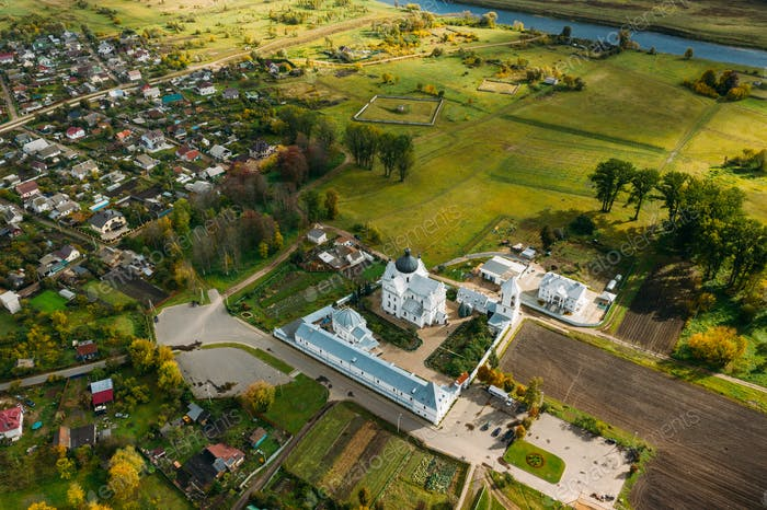 Mahiliou, Belarus. Mogilev Cityscape With Famous Landmark St. Nicholas Monastery. Aerial View Of